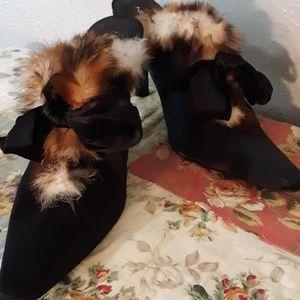 NINE WEST Satin Rabbit Fur Tie Slip on Heels 7